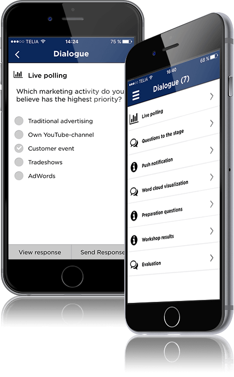 Empower your event participants through real-time dialogue, live polling and push notifications and
