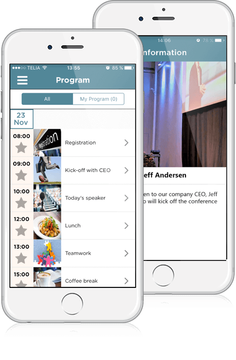 Display your event program to participants in your conference app